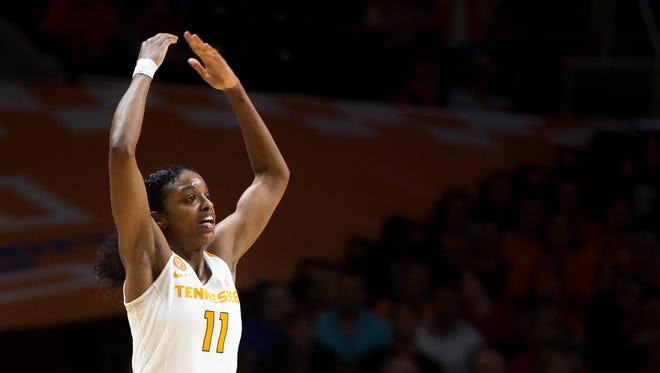 Tennessee's Diamond DeShields urges the crowd to get louder during the second half against Florida on Thursday.