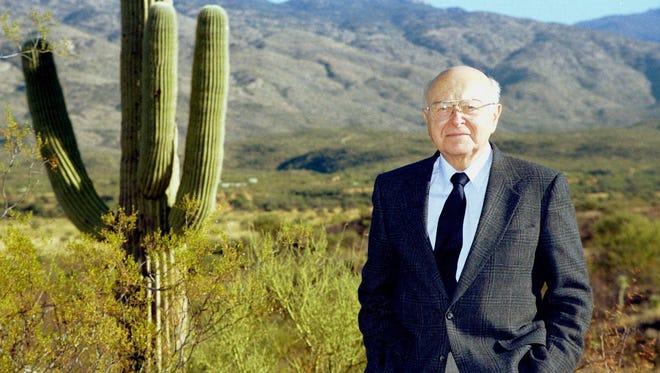 Former University of Arizona President Henry Koffler poses on land near Tucson in this undated file photo.