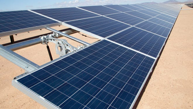 "Gila Bend Solar Power Plant generates 32 megawatts, which can power about 8,000 homes. This 400 acres facility, is ""single-axis tracker polycrystalline modules"" has 171,520 solar panels."