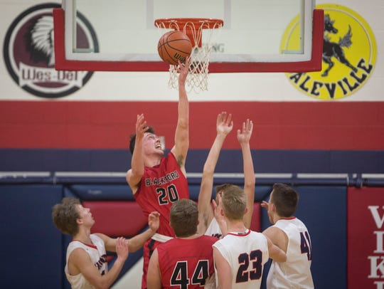 Blackford's JD Hoover attempts a shot off of a rebound