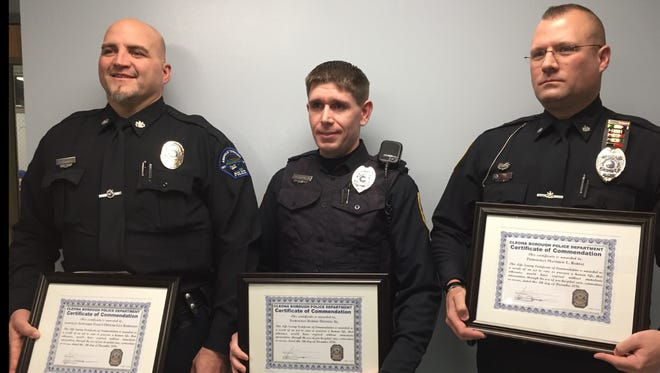 Officers Guy Robinson, Bobby Henning and Matt Bartal were recognized at Monday's the Cleona Borough Council meeting by receiving Certificates of Meritorious Service for their actions responding to a Nov. 8 accident on Route 934.