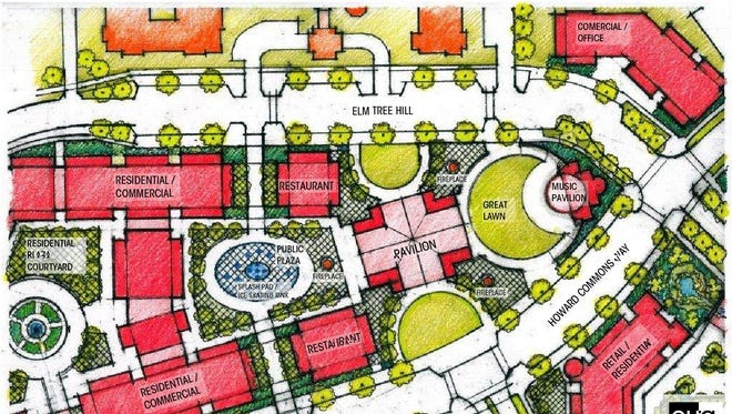 Howard Commons would be centered around a pavilion and public plaza.