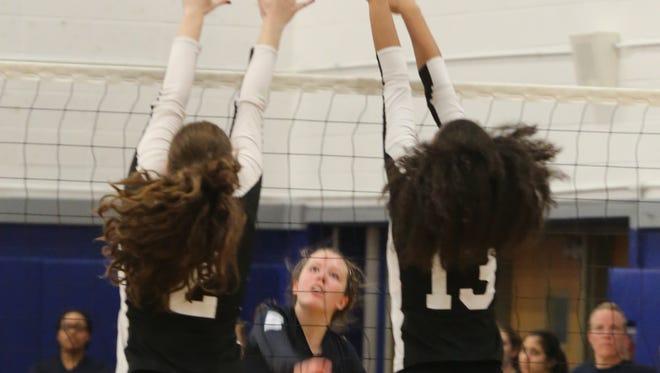 Ossining defeats Ursuline School during Section 1 girls volleyball Class AA finals at Hendrick Hudson High School in Montrose Nov. 4, 2016.