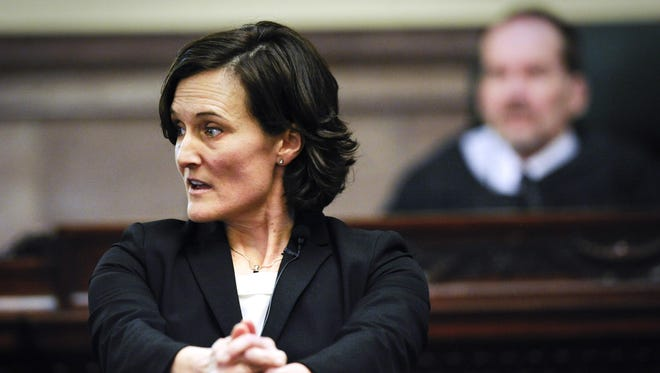 Assistant Attorney General Mary Cochenour provides a demonstration to the jury during the Joseph Campbell trial in the Old Supreme Court Chamber of the State Capitol in Helena on Monday.