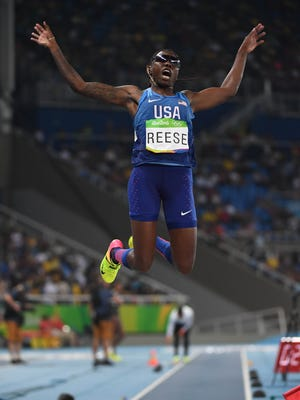 Brittney Reese leaps during the women's long jump final in the Rio 2016 Summer Olympic Games at Estadio Olimpico Joao Havelange. Reese won bronze.