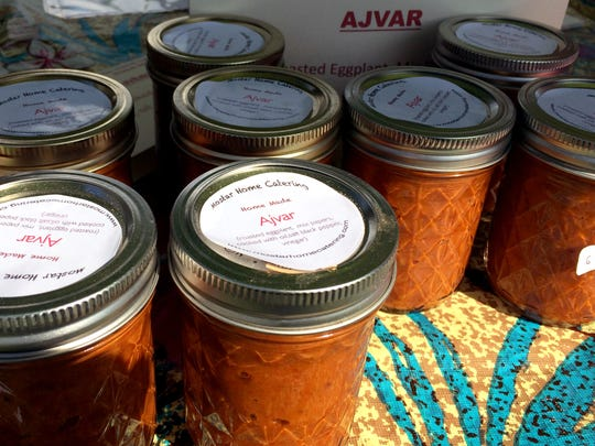 A traditional West Balkan condiment, ajvar or red pepper relish, made by Mostar Home Catering, a vendor at the Jericho Farmers Market.