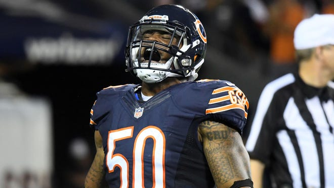 Sep 19, 2016; Chicago, IL, USA;  Chicago Bears inside linebacker Jerrell Freeman (50) reacts after making a tackle against the Philadelphia Eagles during the second quarter at Soldier Field.