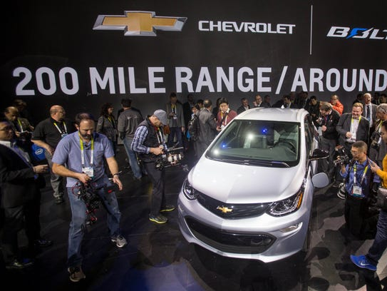 Showgoers get a closer look at the 2017 Chevrolet Bolt