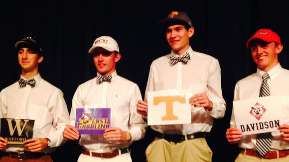 Four Christ School seniors signed to play college sports on Friday.