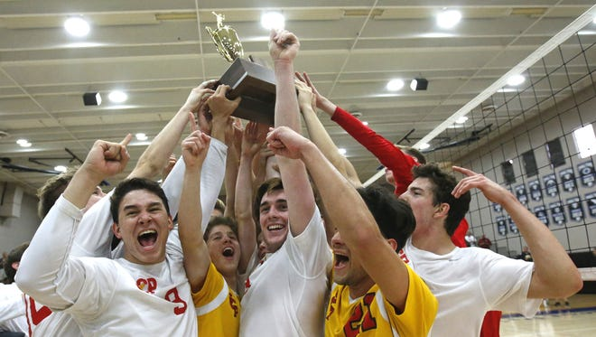 Seton celebrates after defeating Ironwood during the high school boys volleyball, Division II state championship game at Mesquite High in Gilbert on May 14, 2016.