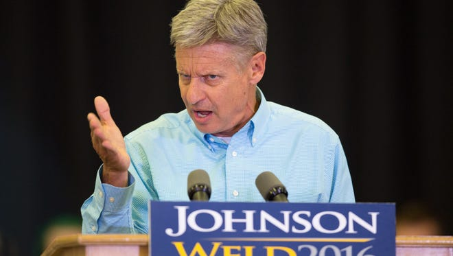 Libertarian presidential candidate Gary Johnson speaks during a campaign rally, Saturday, Sept. 3, 2016, at Grand View University in Des Moines, Iowa. (AP Photo/Scott Morgan)