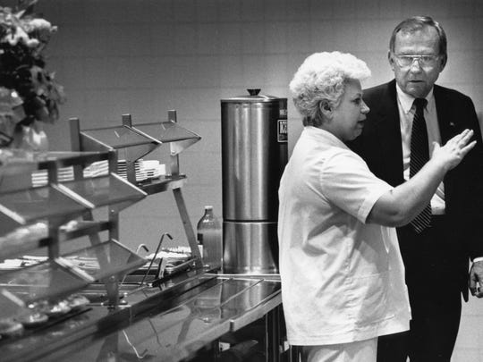 State Senator Ben Atchley was given the grand tour of South-Young High School, including the school lunch facilities by Judy Lindsay, on October 17, 1990.