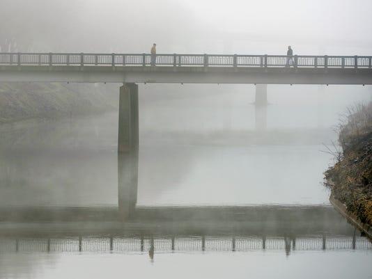 Princess Street bridge in the fog