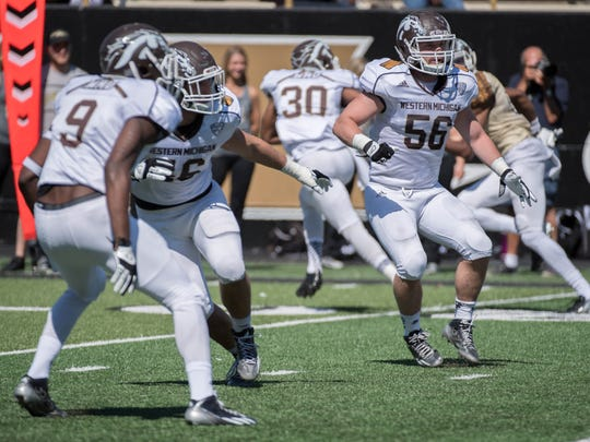 WMU's Kasey Carson (56) during spring game.