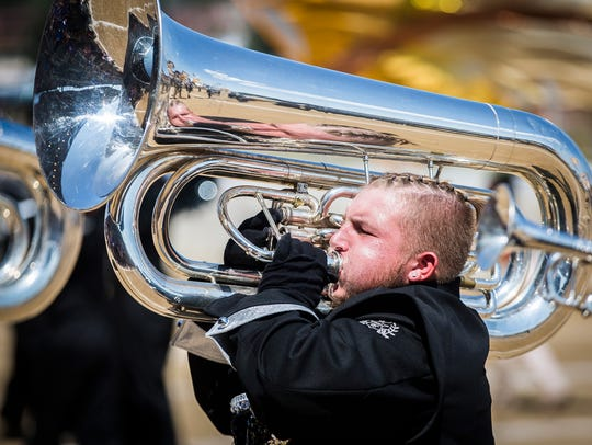 Central High School competes during Band Day at the