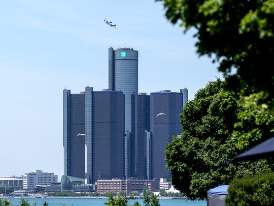 The Renaissance Center as viewed from Belle Isle Park on July 4, 2017.