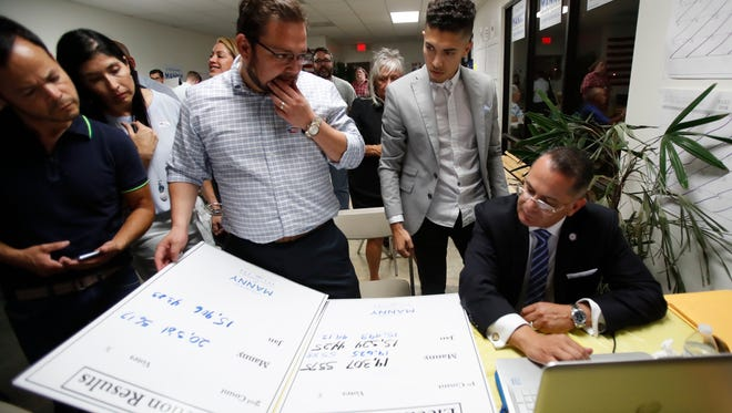 At far right, Riverside County Board Supervisor Manuel V. Perez looks over election results with his team at the supervisors field office in Indio on June 5, 2018