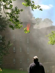 This provided photo shows a fire at 1120 Polk Blvd. in Des Moines on Thursday, May 25, 2017.