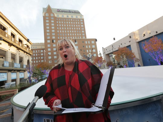 The El Paso Choral Society provides Christmas songs Thursday during Winterfest preparations in Downtown El Paso.