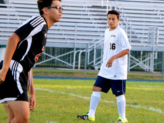 David Guerra, No. 16, has returned to the soccer field for Saddle Brook, after missing all of last season while undergoing leukemia treatments.
