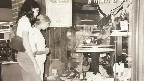 Two women stop to window shop at Hanover's shoes in the Forest Mall in Fond du Lac in an undated file photo.