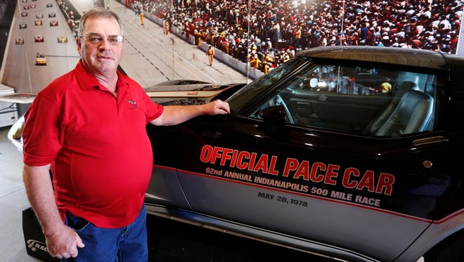 Tom Hetrick with his 1978 Corvette pace car Wednesday, May 16, 2018, near West Lebanon. The photo on the wall behind Hetrick is from the 1986 Indianapolis 500. Astronaut Chuck Yeager drove the pace car that year.