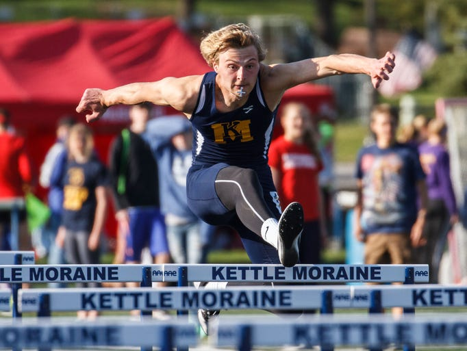 Kettle Moraine's Noah Dehli competes in the 110 meter