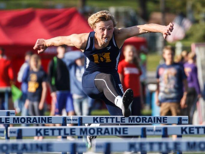 Kettle Moraine's Noah Dehli competes in the 110 meter