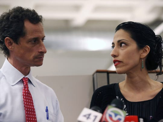 Huma Abedin, wife of Anthony Weiner, speaks during