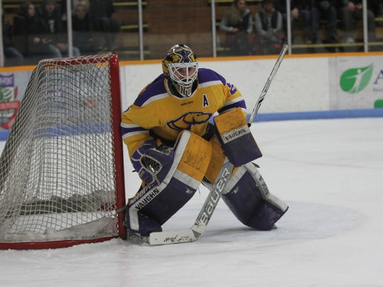 UW-Stevens Point senior goalie Max Milosek finished with 32 saves in a 5-2 win over Adrian (Mich.) in an NCAA Division III national quarterfinal contest March. Milosek was in net when the Pointers won the national title in 2016.