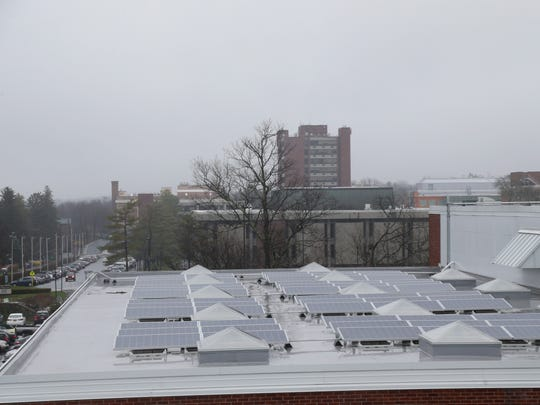 Solar panels on the roof of Elting Gym at SUNY New Paltz