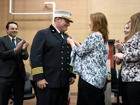 After taking the oath of office as Paterson's new fire