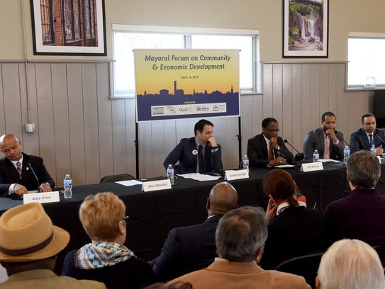 Candidates for Paterson Mayor Alex Cruz, Andre Sayegh,