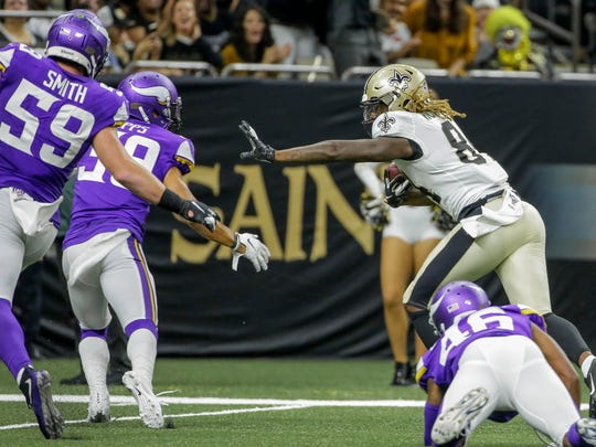 New Orleans Saints wide receiver Lil'Jordan Humphrey (84) scores during a preseason game against the Minnesota Vikings on Aug. 9.