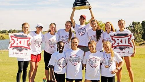 The Iowa State women's cross country team, after winning the Big 12 Conference championship Saturday.