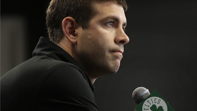 Boston Celtics coach Brad Stevens speaks during a news conference in Boston on June 20, 2019. Stevens and the Celtics will start scrimmages this week.