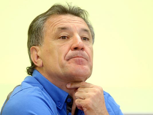 FILE-  In this July 2, 2015 file photo then Dinamo Zagreb's executive president Zdravko Mamic addresses the media during a news conference in Moravske Toplice, Slovenia. Croatia's state TV says controversial former Dinamo Zagreb director Zdravko Mamic has been shot and injured in Bosnia. The report said he was shot in his leg and was taken to a local hospital on Monday Aug. 21, 2017.  Bosnian media say Mamic was attending a memorial for his father at a graveyard near the town of Tomislavgrad when two people fired at him from a nearby forest. (Igor Kralj,Pixell via AP, file)