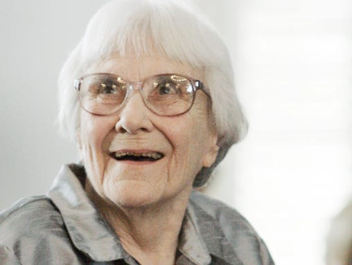 FILE - In this Aug. 20, 2007, file photo, author Harper Lee smiles during a ceremony honoring the four new members of the Alabama Academy of Honor at the Capitol in Montgomery, Ala. ?To Kill a Mockingbird? will be made available as an e-book and digital audiobook in July 2014, filling one of the biggest gaps in the electronic library. Author Harper Lee said in a rare public statement Monday, April 28, 2014, issued through HarperCollins Publishers, that while she still favored ?dusty? books she had signed on for making ?Mockingbird? available to a ?new generation.? (AP Photo/Rob Carr, File)