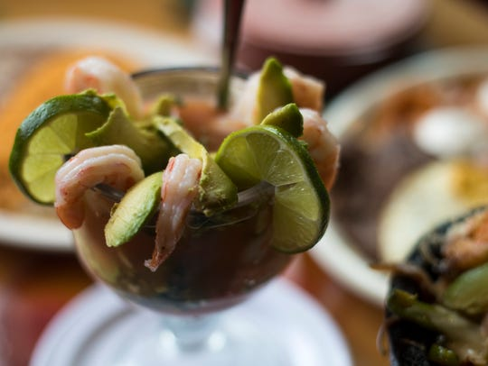 El Patron's coctel de camaron serves the shrimp in