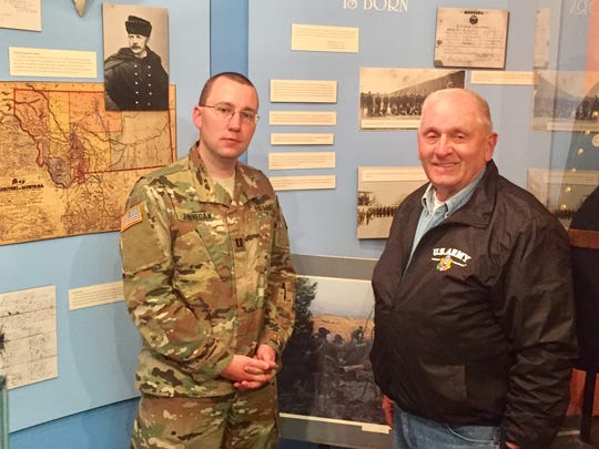 Capt. Ryan Finnegan, left, and Ray Read hope Montanans join in celebrating anniversaries of the state's military history this year.