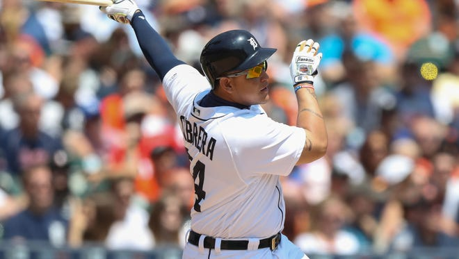 Tigers first baseman Miguel Cabrera homers during the third inning Sunday at Comerica Park.