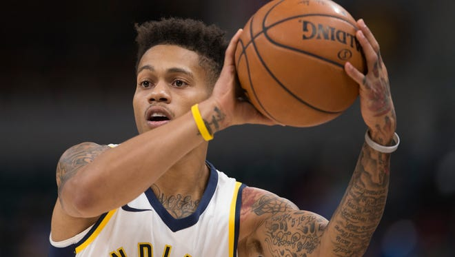 Joe Young of Indiana, during first half action, New Orleans Pelicans at Indiana Pacers, Bankers Life Fieldhouse, Indianapolis, Tuesday, Nov. 7, 2017. New Orleans won 117-112.