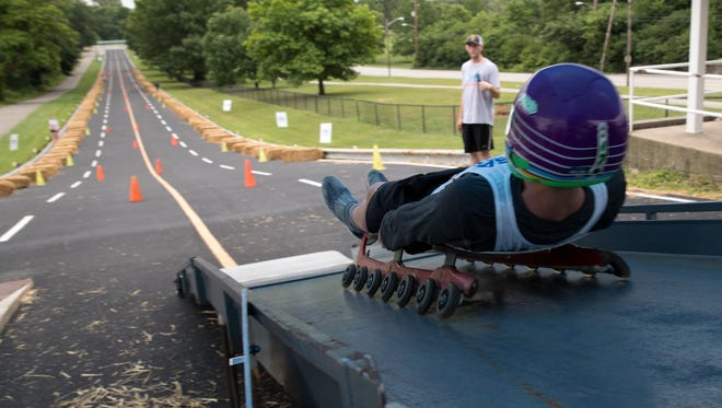 A luger heads down Wilbur Shaw Soap Box Derby Hill on June 23. USA Luge was conducting a camp to find prospects who could get an invite to training facilities in Lake Placid, N.Y., for an official tryout.