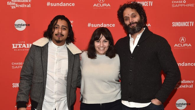 "Actor Tony Revolori, director/screenwriter Hannah Fidell and actor Jason Mantzoukas attend the premiere of ""The Long Dumb Road"" during this year's Sundance Film Festival."