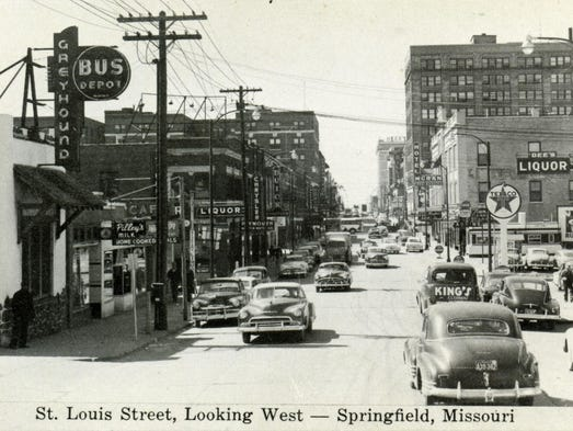 On St. Louis Street looking west toward the square.