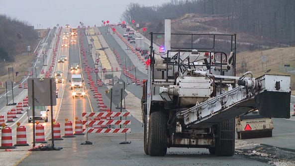 Traffic routed around I-69 construction.