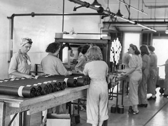 Women work on the assembly line at the Green River Ordnance Plant during World War II.