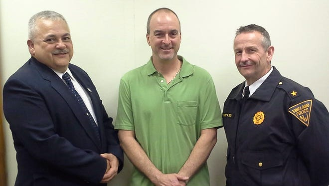 The City of Vineland recognized two retiring Vineland Police Officers, Sergeant Daniel Fay and Sergeant Lewis Carini, at a recent City Council meeting. (From left) Public Safety Director Edwin Alicea, retired Sergeant Daniel Fay, and Vineland Police Chief Rudolph Beu met prior to the presentation. Retired Sergeant Lewis Carini was unable to attend due to a prior commitment.