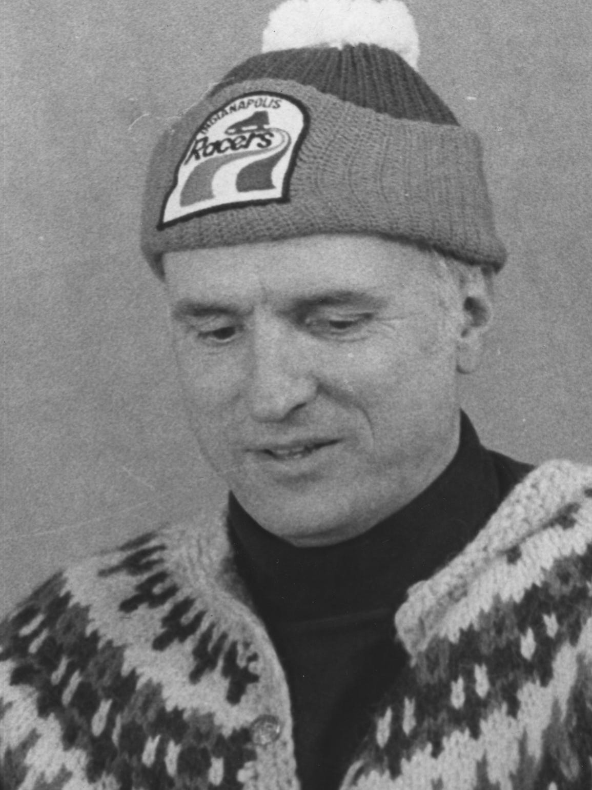 William Hudnut with his Indianapolis Racers hat (1/30/1979)