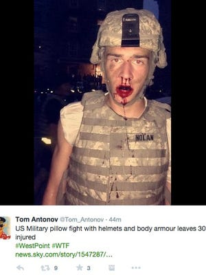 A cadet was left bloodied after a pillow fight at West Point.